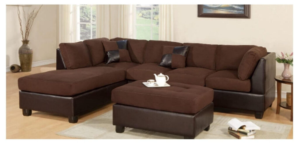 Sectional Sofa 3-Piece Faux Leather