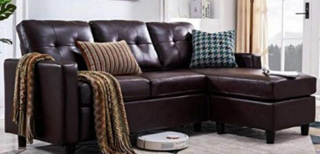 Faux Leather L shaped Sectional Couch